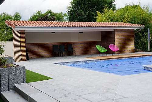 Pool house elcc bois menuiserie charpente couverture ossature bois - Photos pool house piscine ...